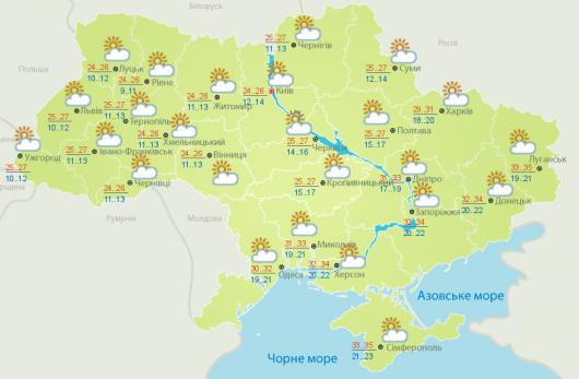 Сегодня вУкраине будет тепло исухо, вКиеве днем— до